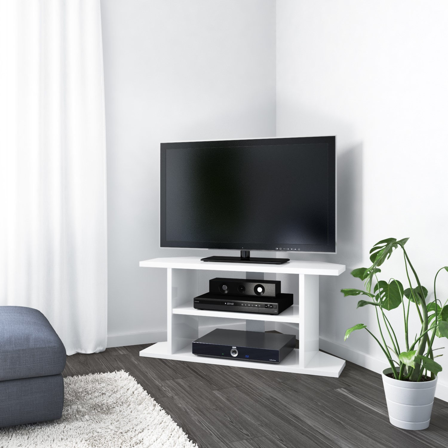 check out d9be4 2c046 Details about Artemis Small White High Gloss Corner TV Stand - TV's up to  40