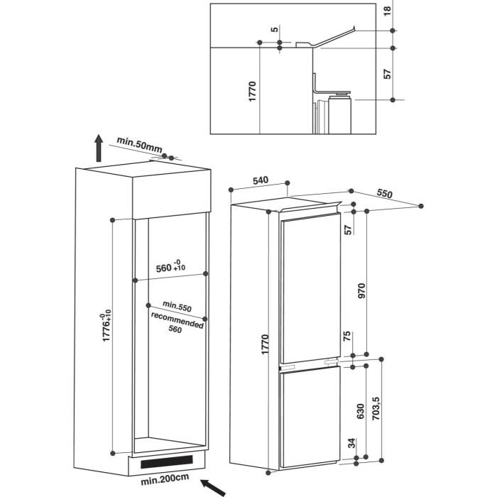 whirlpool art6500aplus 70 30 split integrated fridge. Black Bedroom Furniture Sets. Home Design Ideas