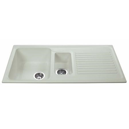 1.5 Bowl Inset Cream Composite Kitchen Sink with Reversible Drainer - CDA Asterite