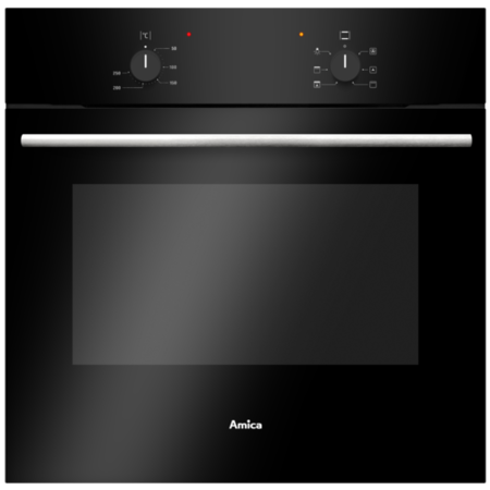 Amica ASC200BL 5-function 62L Single Fan Oven 13A Cable And Plug - Black