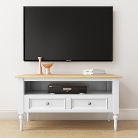 Auckland Farmhouse White & Pine TV Unit Stand with an Open Shelf & 2 Drawers
