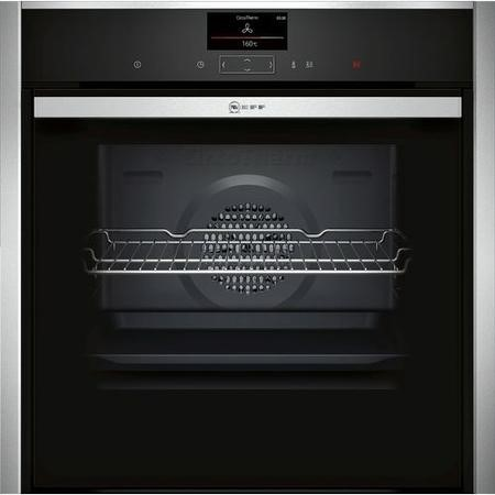 Neff B47CS34H0B N90 Slide & Hide 13 Function Touch Control Single Oven with Home Connect - Black With Steel