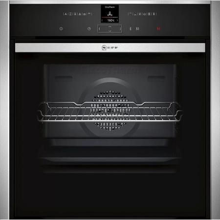 NEFF B57CR23N0B N70 Slide & Hide 12 Function Pyrolytic Self Cleaning Electric Single Oven - Stainless Steel