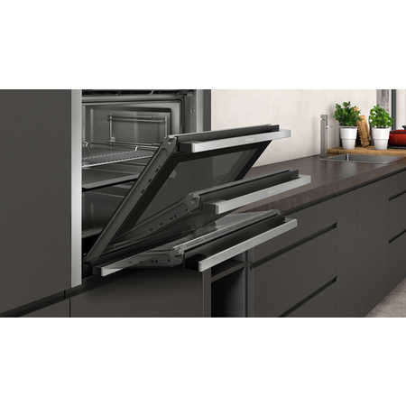 Neff B5ACM7HN0B N50 8 Function SlideAndHide Single Oven With Pyrolytic Cleaning - Stainless Steel