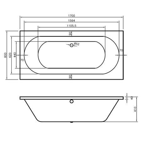 Mosanto Double Ended Round Style Standard Bath - 1700 x 800mm