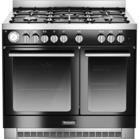 Baumatic BCD925BL Twin Cavity 90cm Dual Fuel Range Cooker - Black