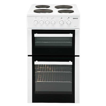 Beko BD532AW 50cm Double Cavity Electric Cooker With Sealed Plate Hob - White