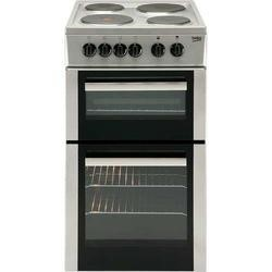 Beko BD533AS 50cm Wide Double Cavity Electric Cooker With Fan Cooking And Solid Plate Hob Silver