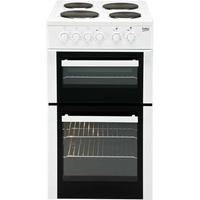Beko BD533AW 50cm Wide Double Cavity Electric Cooker With Fan Cooking And Solid Plate Hob White