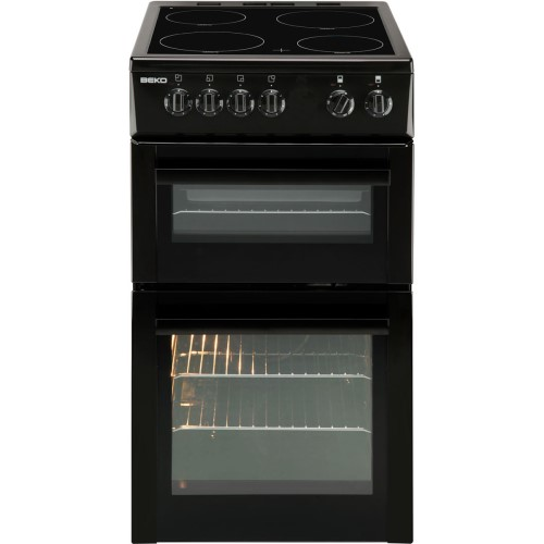 GRADE A1 - Beko BDC5422AK 50cm Double Cavity Electric Cooker With Ceramic Hob Black
