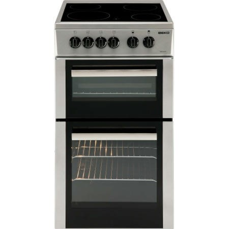 Beko BDC5422AS 50cm Double Cavity Electric Cooker With Ceramic Hob Silver