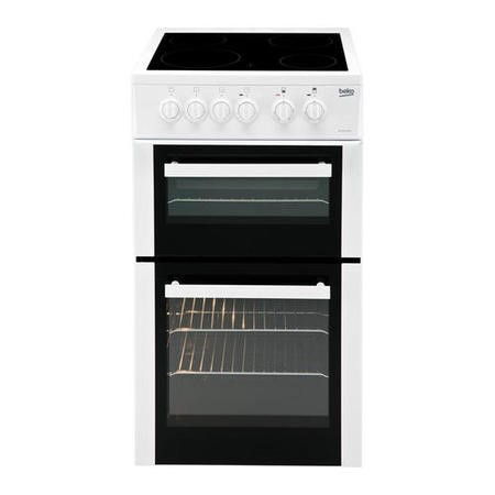 Beko BDC5422AW 50cm Double Cavity Electric Cooker with Ceramic Hob White