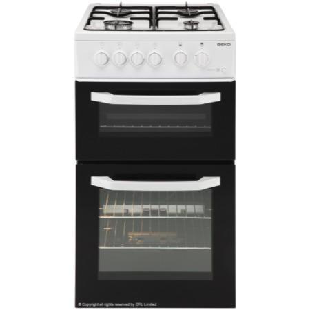 beko bdg581w 50cm double cavity gas cooker white. Black Bedroom Furniture Sets. Home Design Ideas