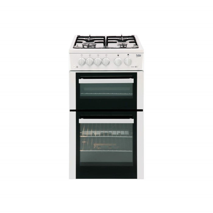 Beko bdg582w 50cm wide double cavity gas cooker white for Kitchen cabinets 50cm wide