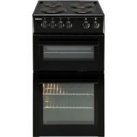 Beko BDV555AK 50cm Wide Double Oven Electric Cooker With Solid Hot Plate Hob Black