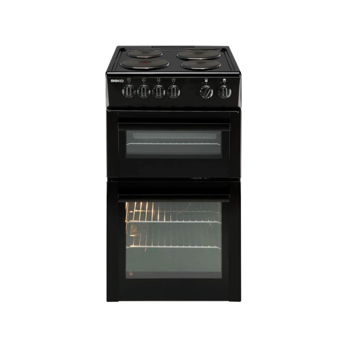 Beko bdv555ak 50cm wide double oven electric cooker with for Kitchen cabinets 50cm wide