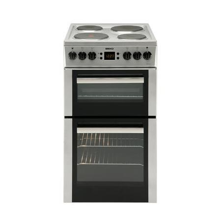 Beko BDV555AS 50cm Wide Double Oven Electric Cooker with Solid Hot Plate Hob Silver
