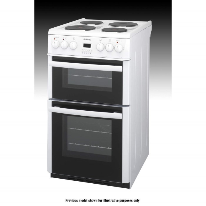 Beko bdv555aw 50cm wide double oven electric cooker with for Kitchen cabinets 50cm wide