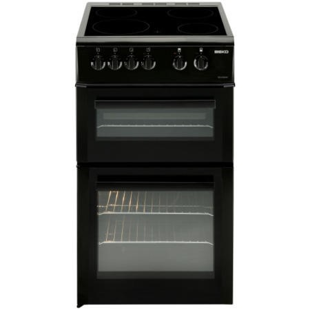 Beko BDVC563AK 50cm Wide Double Oven Electric Cooker With Ceramic Hob Black