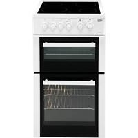 Beko BDVC563AW 50cm Wide Double Oven Electric Cooker With Ceramic Hob White