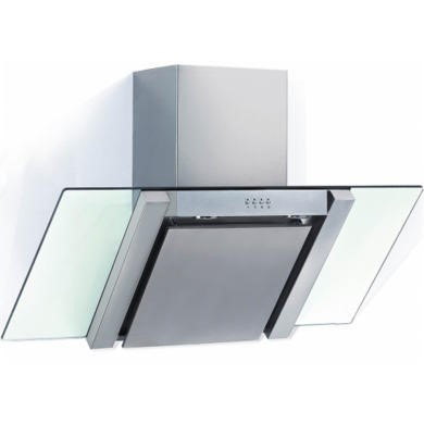 BE700GL Baumatic BE700GL Angled Stainless Steel And Glass 70cm Wide Chimney Cooker Hood