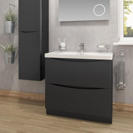 Black Free Standing Bathroom Vanity Unit & Basin - W900 x H850mm - Oakland