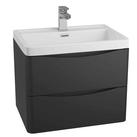 Cresta Black Ash Wall Mounted Basin Vanity Unit - Includes Basin - 600mm