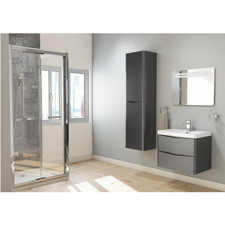 Black Wall Hung Bathroom Vanity Unit & Basin - W900 x H500mm