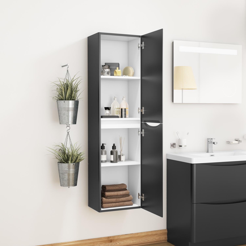 Black Wall Hung Tall Bathroom Storage Cabinet W400 X H1500mm