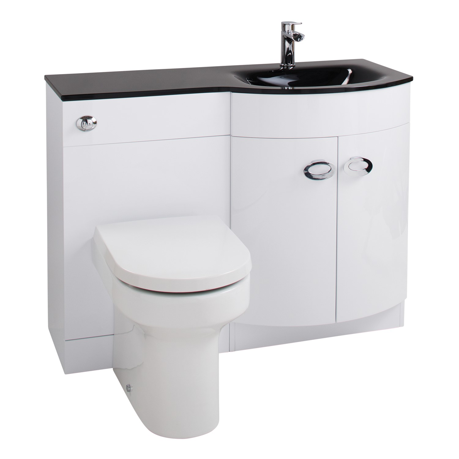 Brilliant White Right Hand Vanity Unit Black Glass Basin Without Toilet Home Interior And Landscaping Transignezvosmurscom