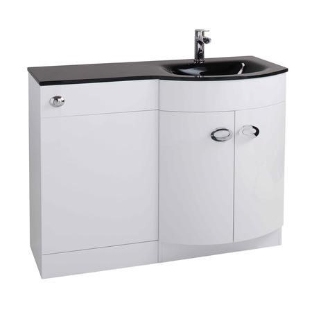 Curve White Gloss Combination Right Hand Vanity Unit with Black Glass Basin - Without Toilet