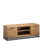 Julian Bowen Brooklyn Industrial TV Unit in Solid Oak with Metal Legs