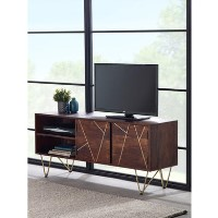Bengal Dark Wood Gold Inlay TV Media Unit - TV's up to 55