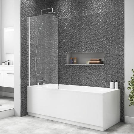 Taylor & Moore Half Frame Curved Corner Bath Screen - 1400 x 800mm