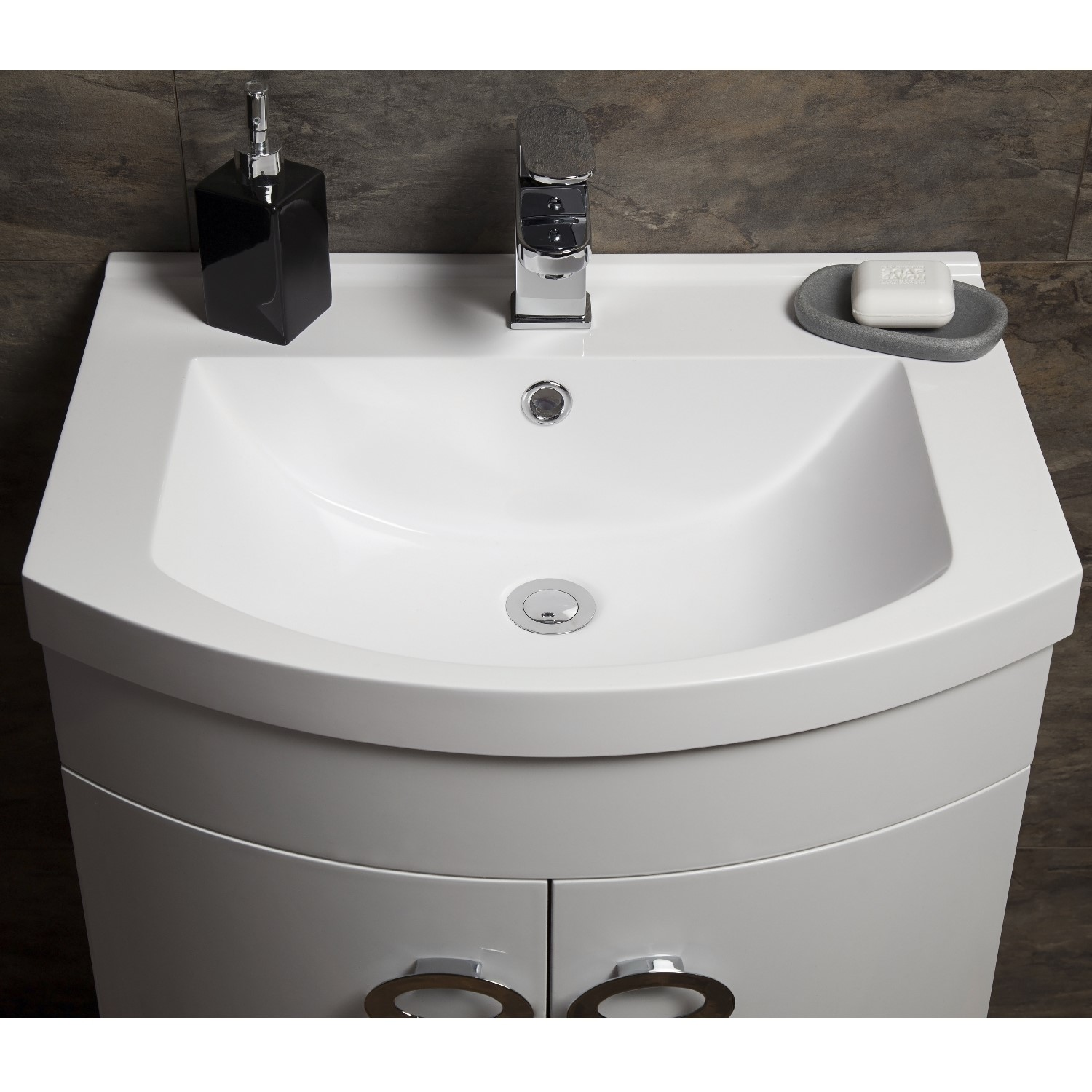 new concept ded70 86292 Curved White Bathroom Vanity Unit & Basin - W600mm