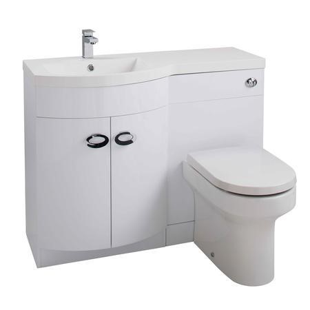 Curved White Left Hand Bathroom Vanity Unit & Basin - Without Toilet