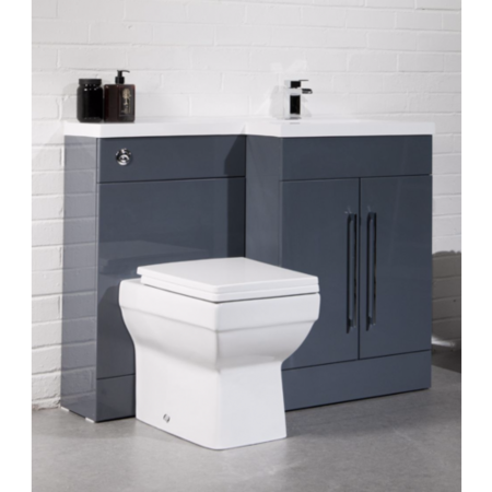 Anthracite Right Hand Cloakroom Suite with Mid Edge Basin - W1090mm