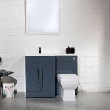 Anthracite Left Hand Cloakroom Suite with Thin Edge Basin - W1090mm