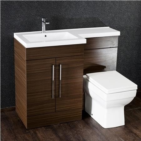 Moderno Walnut Left Hand Cloakroom Suite with Thin Edge Basin