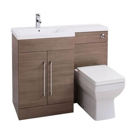 Moderno Medium Oak Left Hand Cloakroom Suite with Thin Edge Basin