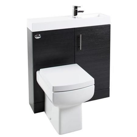 Black Cloakroom Vanity Unit & Basin with Delta Toilet