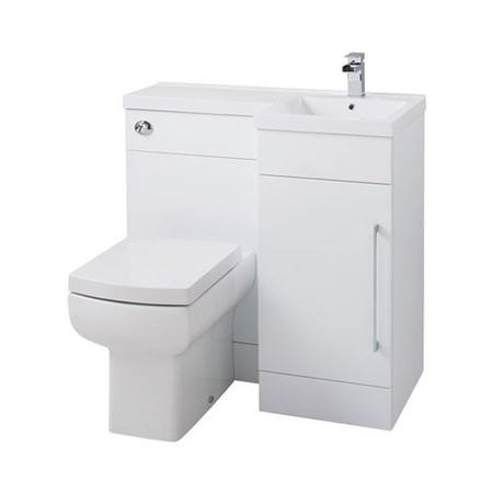 White Right Hand Cloakroom Suite with Basin