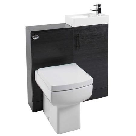 Black Ash Compact Unit Cloakroom Suite