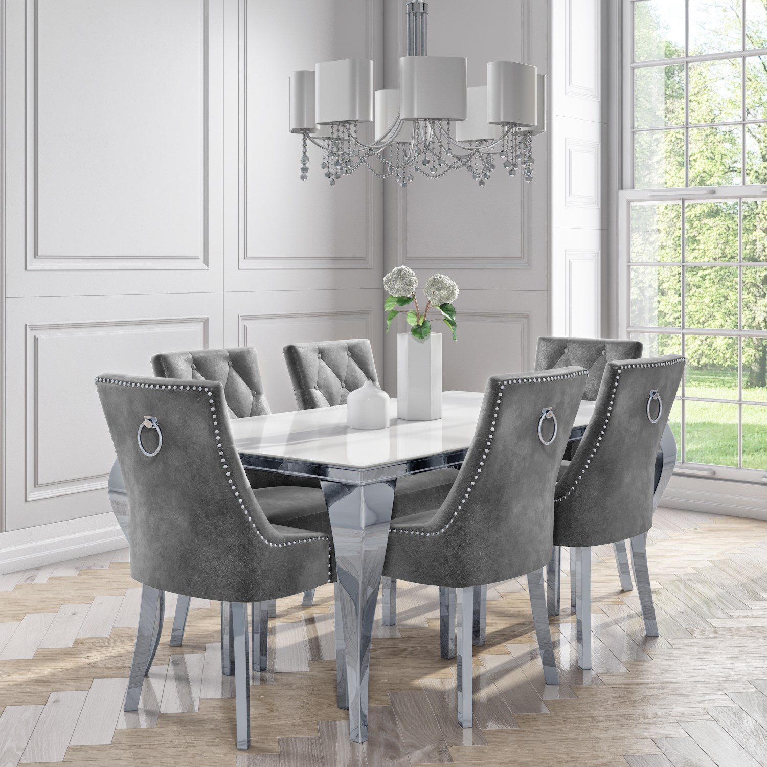 Details about Mirrored Dining Table with 9 Chairs in Grey Velvet   Jade  Bouti BUN/ANE9/79979