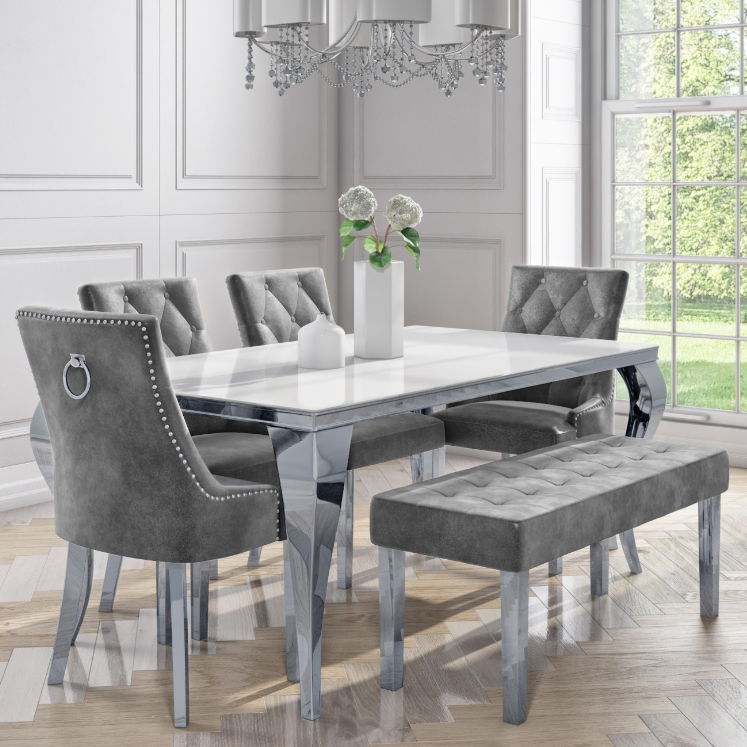 White Mirrored Dining Table with 4 Grey Velvet Chairs & 1 ...