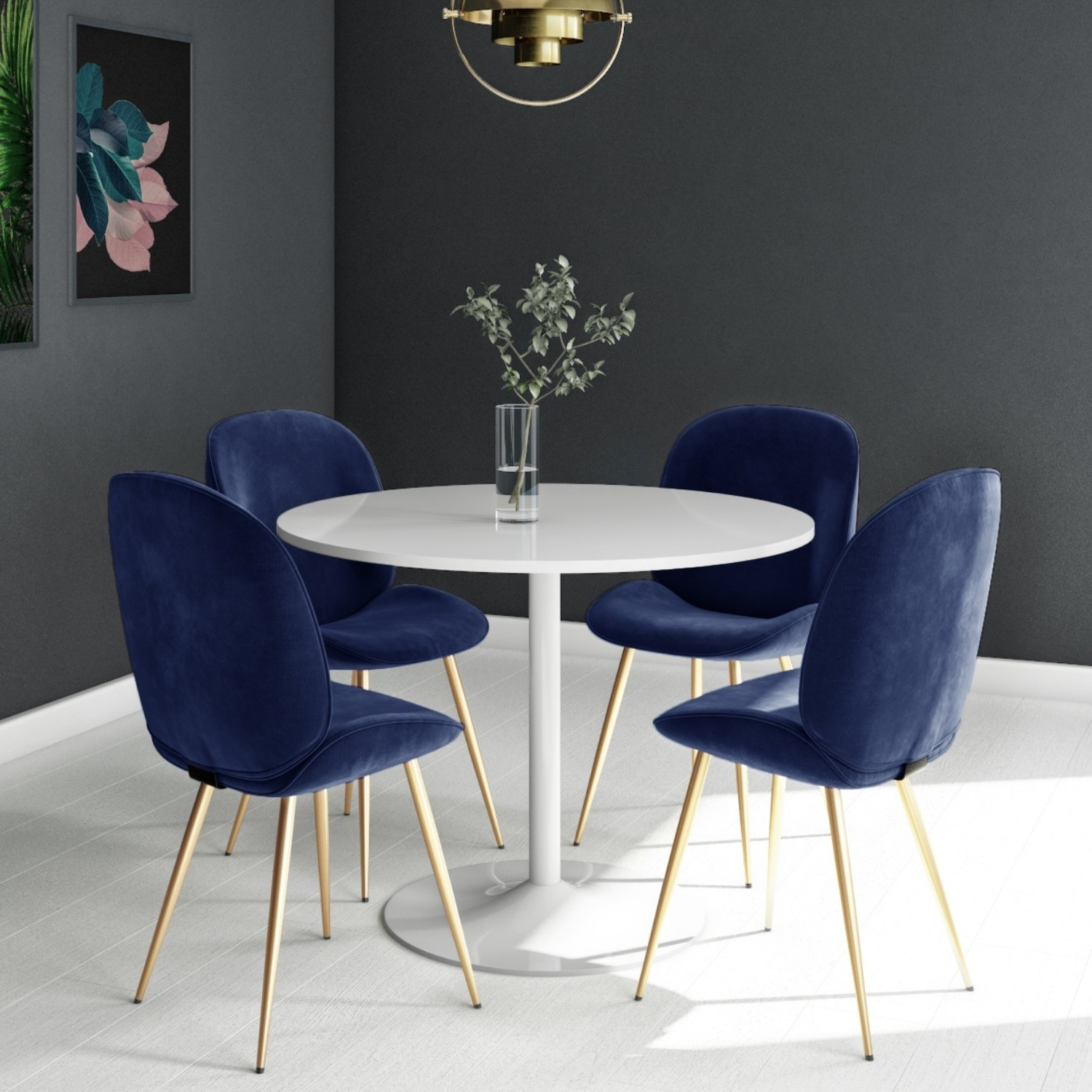 Jenna White Round Table 4 Chairs In Blue Velvet With Gold Leg Bun Bla101 76481 Ebay