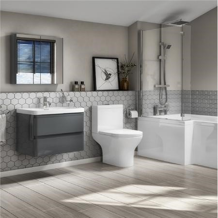 Portland 600 Wall Mounted Storm Grey Gloss Vanity Unit with Portland Close Coupled Toilet Suite