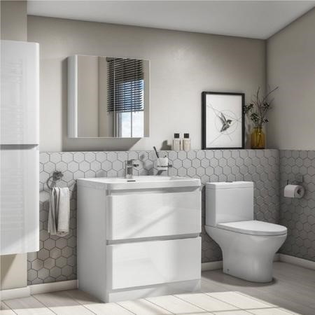 Portland 800 Floor Standing Ice White Gloss Vanity Unit with Portland Close Coupled Toilet Suite