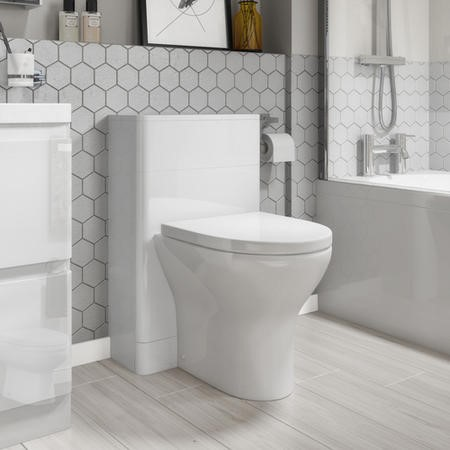 500mm White Gloss Curved Corner WC Unit with Back to Wall Toilet - Portland