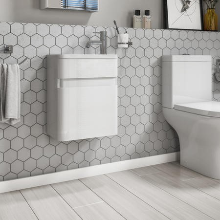 410mm White Wall Hung Cloakroom Vanity Unit with Basin- Portland